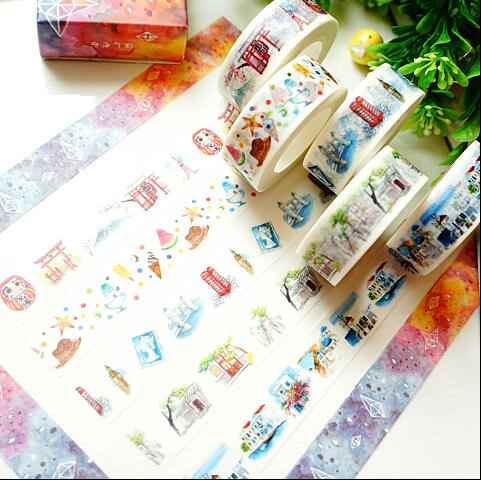 Fox Starry Sky Camera Washi Tape Adhesive Tape DIY Scrapbooking Sticker Label Masking Craft Tape все цены