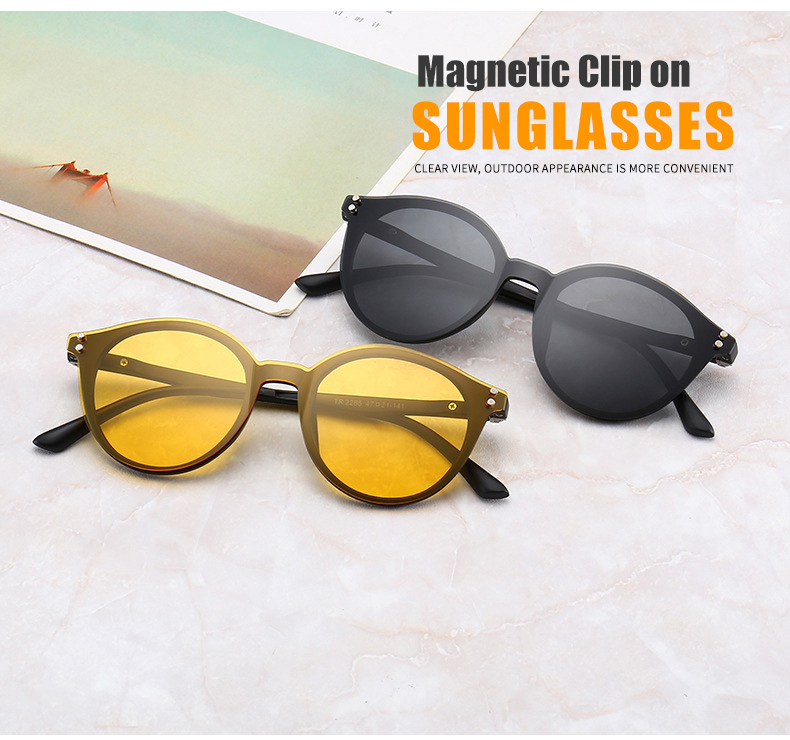 de8d71e6cb383 TR90 Polarizada Ímã Clipe Em Óculos De Sol Das Mulheres Dos Homens Rebite  Oval Visão Noturna Óculos de Sol Motorista Rodada Prescrição Frames WN1092