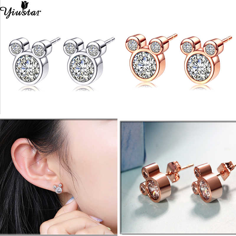 Yiustar nouveauté mignon élégant Mickey collier pendentifs en acier inoxydable Animal collier bijoux cadeau de noël