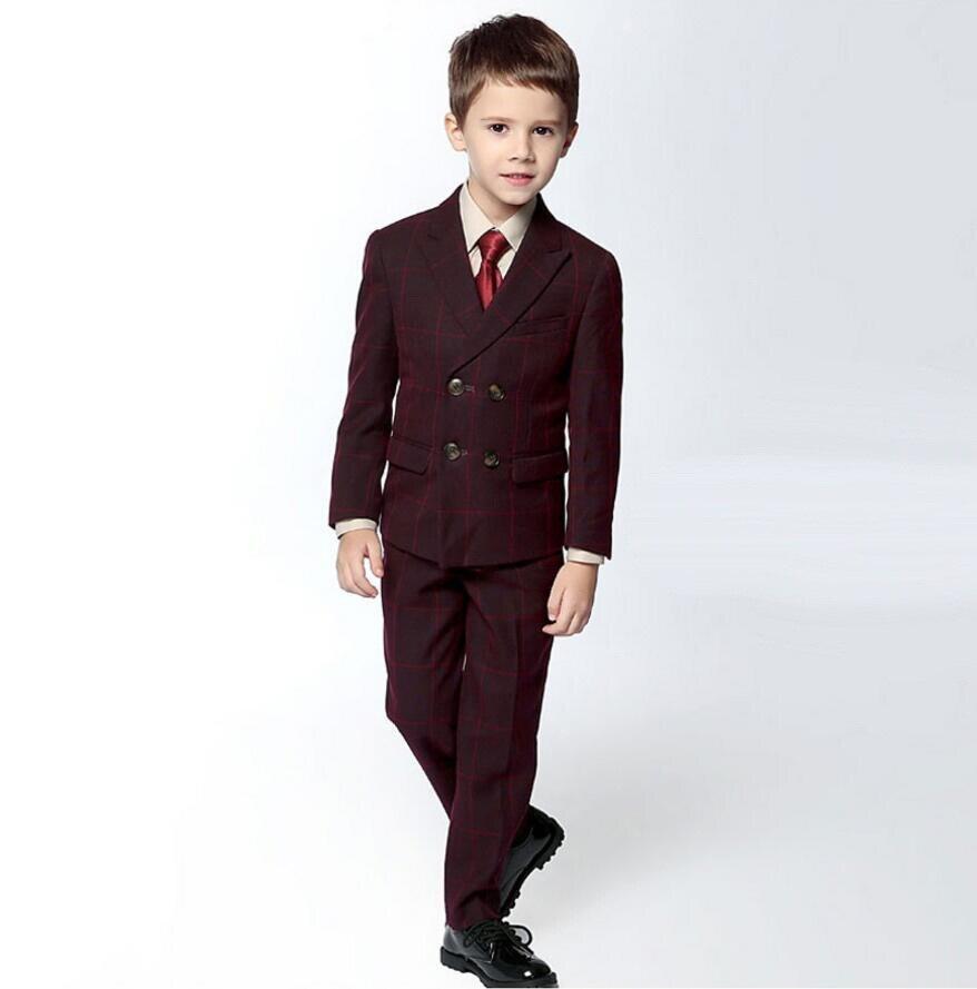 84fb9ff1733 BF306 Formal Plaid Boy s Attire Children Classic Suit Wedding Boy ...