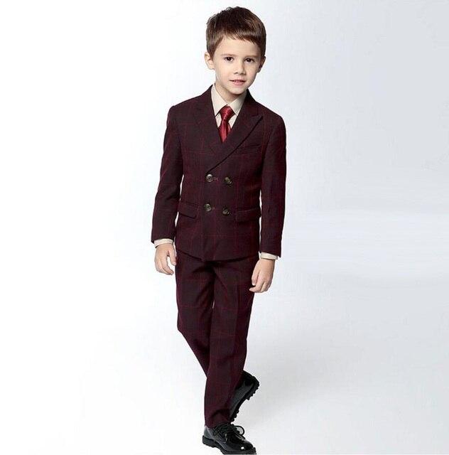 68a6c564a40 BF306 Formal Plaid Boy s Attire Children-Classic-Suit-Wedding-Boy-Blazers