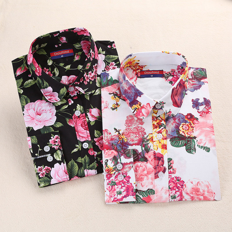 2018 Summer Women Shirts Floral Cotton Linen Blouse Long Sleeve Shirt Women's Blouses White Navy Blusas Plus Size Dioufond