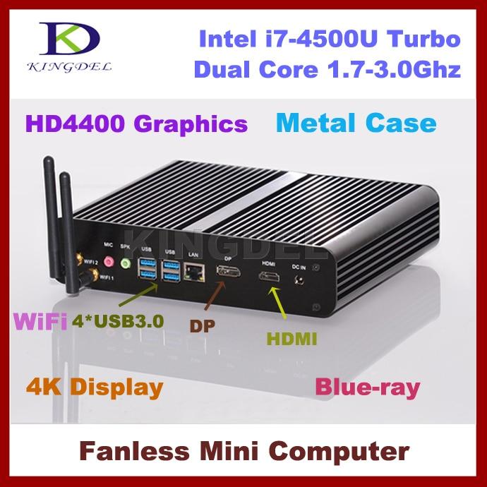 Sin ventilador Mini PC, caja de la Computadora HTPC, Intel i7-4500U Dual Core 3.