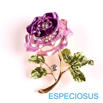 Elegancja spinka kwiatowa Rhinestone biżuteria fioletowy kolorowy malowany różany broszka złoty kolor żyrafa piersi metalowa szpilka pani ubranie tanie i dobre opinie ESPECIOSUS Ołowiu i cyny ze stopu Broszki Śliczne Romantyczny 05897 Moda Kobiety Brooch Pins Gold Color