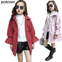 JIOROMY Girl Woolen Coat 2019 Autumn and Spring Jacket Warm Windbreaker Kids Jackets Coats for Large Girls Children Clothes