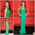 2015 por encargo del verde de la envoltura atractiva vestidos formales vestido con cuello en v vestido de la celebridad vestidos vestidos fiesta