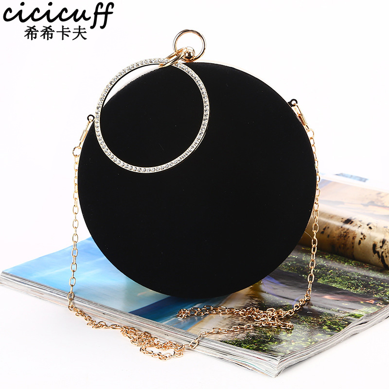 CICICUFF 2018 New Handmade Round Circular Shape Evening Clutch Bag Women Soft Velvet Chain Shoulder Messenger Bags Classic Black