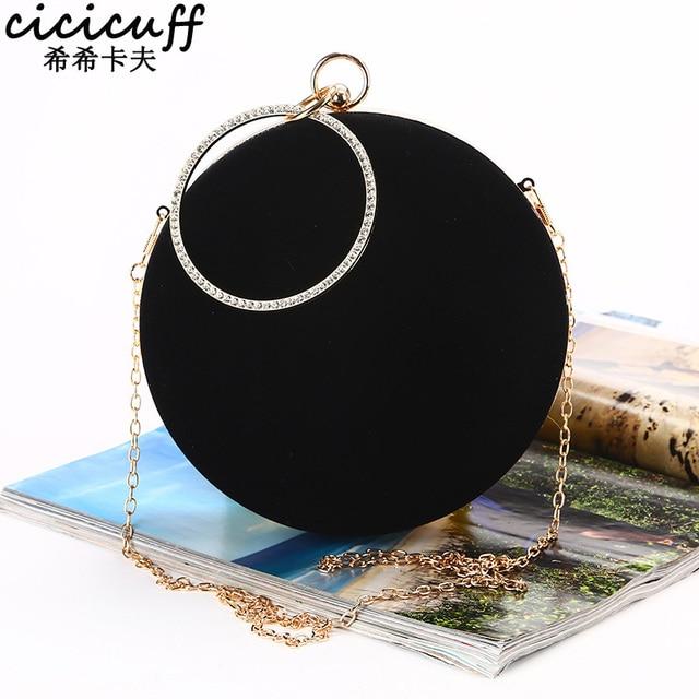 CICICUFF 2020 New Handmade Round Circular Shape Evening Clutch Bag Women Soft Velvet Chain Shoulder Messenger Bags Classic Black