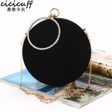 Cicicicuff bolsa feminina de forma circular, bolsa redonda artesanal macia de veludo com corrente de ombro, bolsa de mensageiro, clássica, preta, 2020