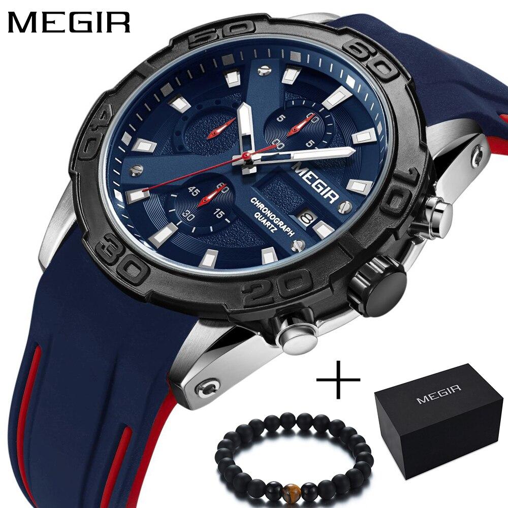 где купить New Megir Chronograph Sport Watch For Men Quartz Men's Wrist Watches Boys Brand Luxury Military Watch Men Silicone reloj hombre по лучшей цене