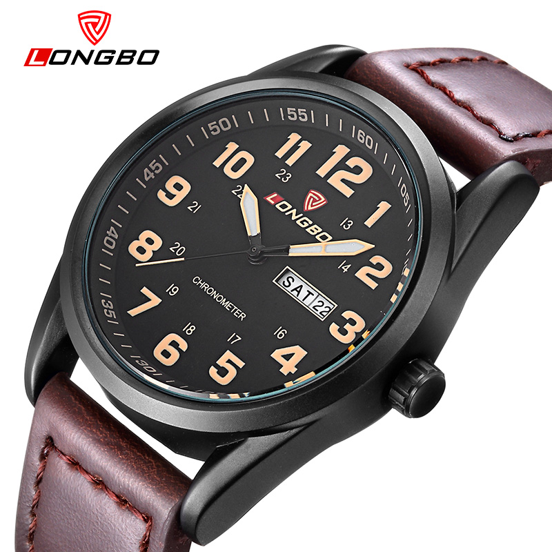 Fashion Brand LONGBO 2016 New Arrival Leisure Sports Series Genuine Leather Date Calendar Wrist Mens Watches