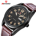 Longbo marca de moda de la nueva llegada de la serie de negocios de ocio relojes fecha calendario hombres de cuero impermeable relojes de pulsera 80207