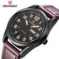 Longbo marca de moda nova chegada de negócios de lazer série relógios de couro calendário data dos homens relógios de pulso à prova d' água 80207