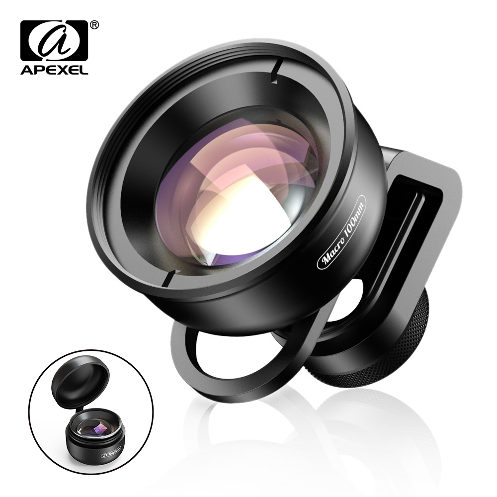 APEXEL 100mm Super Macro Phone Camera Lens HD Optic 10x Macro Lens Mobile Camcorder For IPhone X Xs Samsung All Smartphone