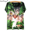 KaiTingu 2017 Harajuku Summer Short Sleeve T Shirt New Fashion Novelty Women Tops Kawaii Cute Animal Cat Dream Print T-shirt