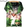 Kaitingu 2017 harajuku verão camiseta de manga curta nova moda novidade mulheres tops bonito kawaii animais cat sonho impressão t-shirt