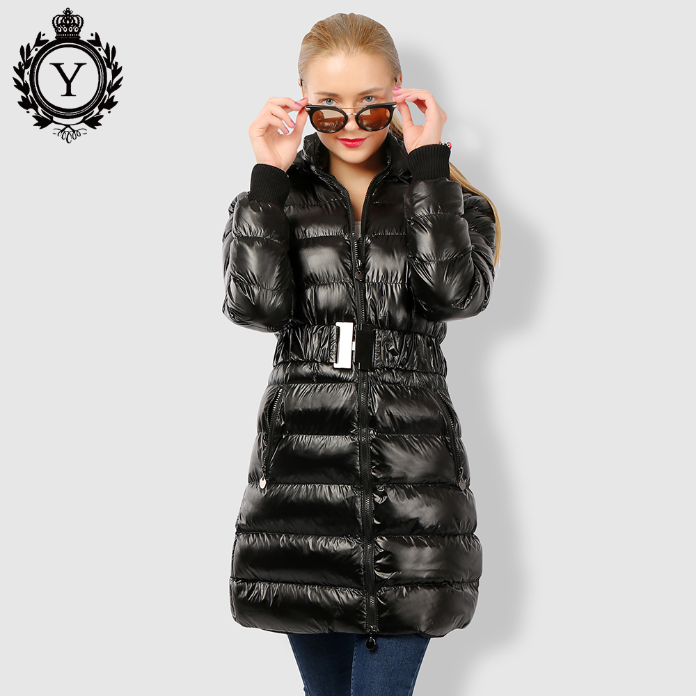 COUTUDI 2017 Long Women Clothing Winter Warm Jackets Shiny Solid Black Parkas Cotton Coats Female Waterproof Belt Parka Coats