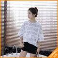 2017 verão nova versão Coreana de cartas selvagens casuais solta longo parágrafo curto-luva T-shirt estudantes do sexo feminino #0375