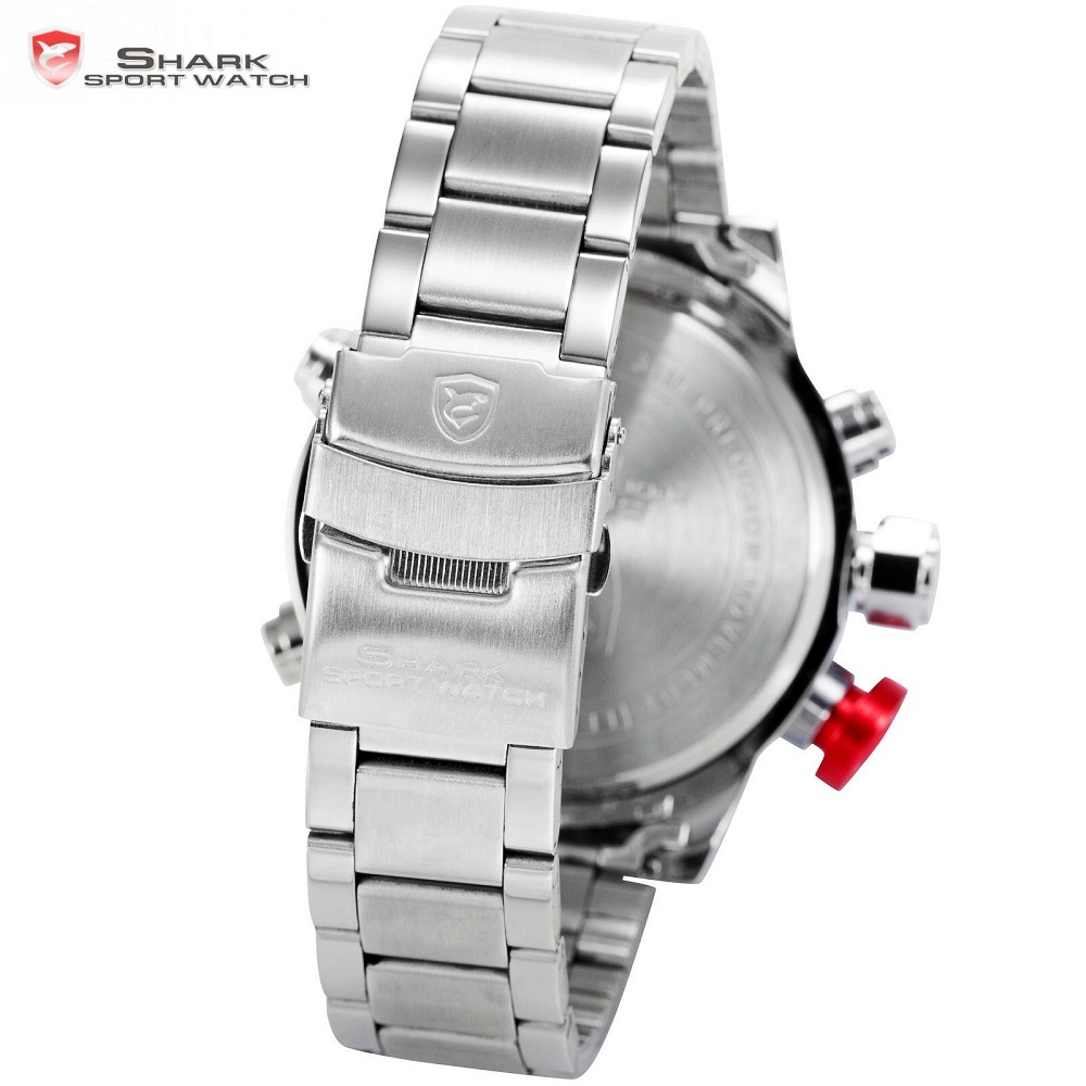 Steel Band Digital Calendar Wristwatche