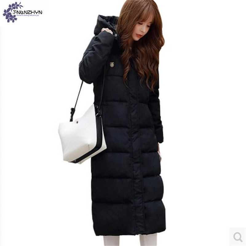 TNLNZHYN Cotton coat winter new fashion Pure color Big yards women temperament hooded thickening Long section warm jacket TT047 big yards for women s shoes in the fall and winter of 2016 high thickening bottom anti slip with warm confined new fashion shoes