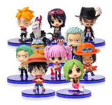 10pcs/set 5cm Japanese Anime One piece Action Figures One piece Luffy Zoro Ace etc Garage Kits With Gift Box For Children
