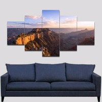 Unframed Canyon Valley photo print on canvas Modern wall art Landscape Sunrise picture painting for home decor 5 pieces