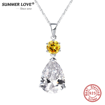925 sterling silver big yellow crystal n...