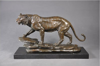 Arts Crafts Copper 100% Real Bronze Modern Vintage Antique Tiger Sculptures Statue bronzes With Marble Base For Upscale Home Dec