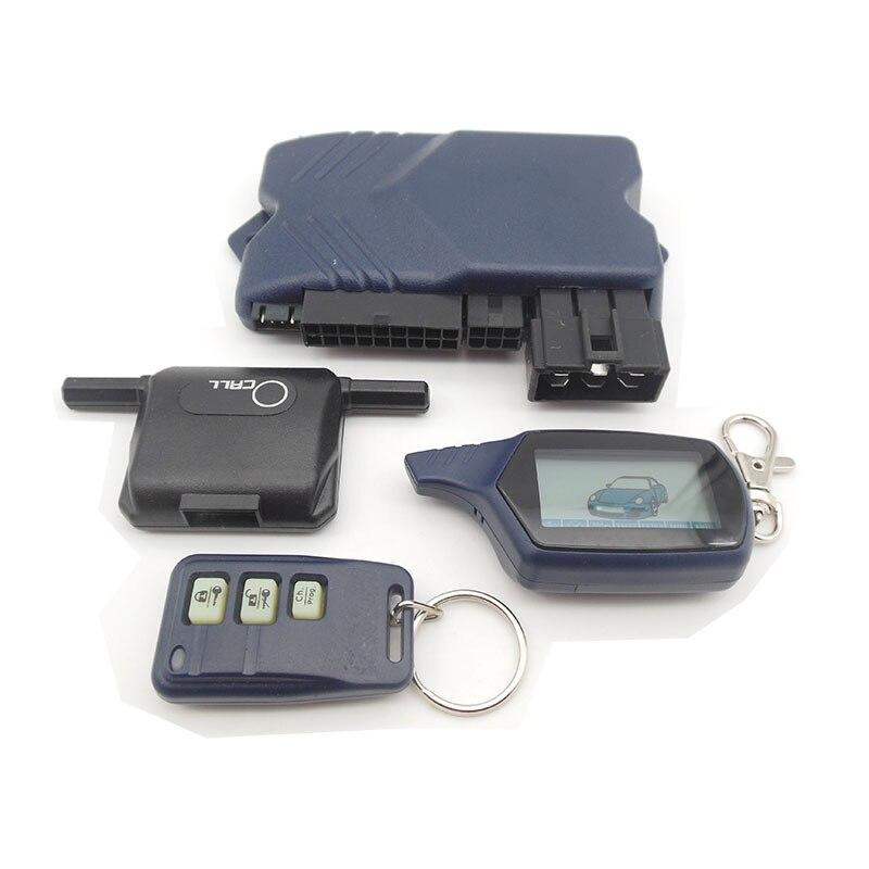 Version russe B9 démarrage à distance du moteur système d'alarme de voiture automatique bidirectionnelle avec porte-clés LCD Fob dispositif antivol bidirectionnel