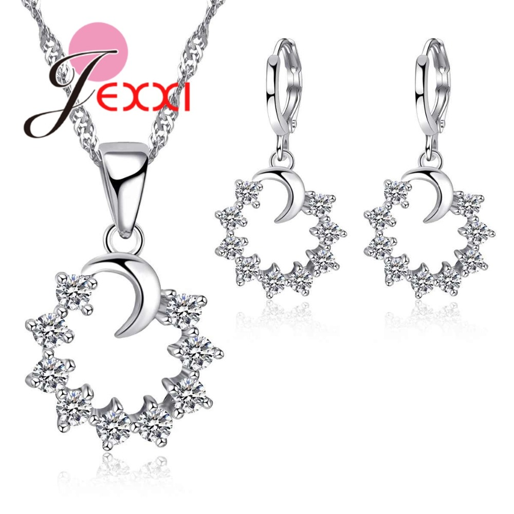 JEXXI Elegant Moon with Micro Clear CZ Flower S90 Silver Jewelry Sets for Women Earrings and Necklace