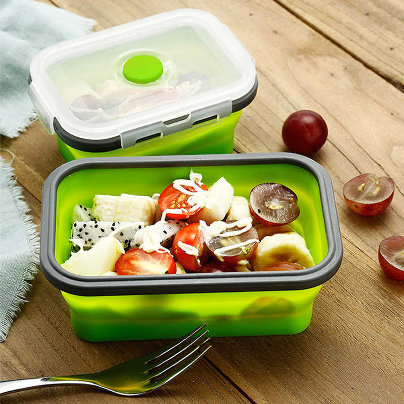 1pc Collapsible Silicone Food Lunch Box Dinnerware Foldable Fruit Salad Storage Food Box Container Tableware BPA Free