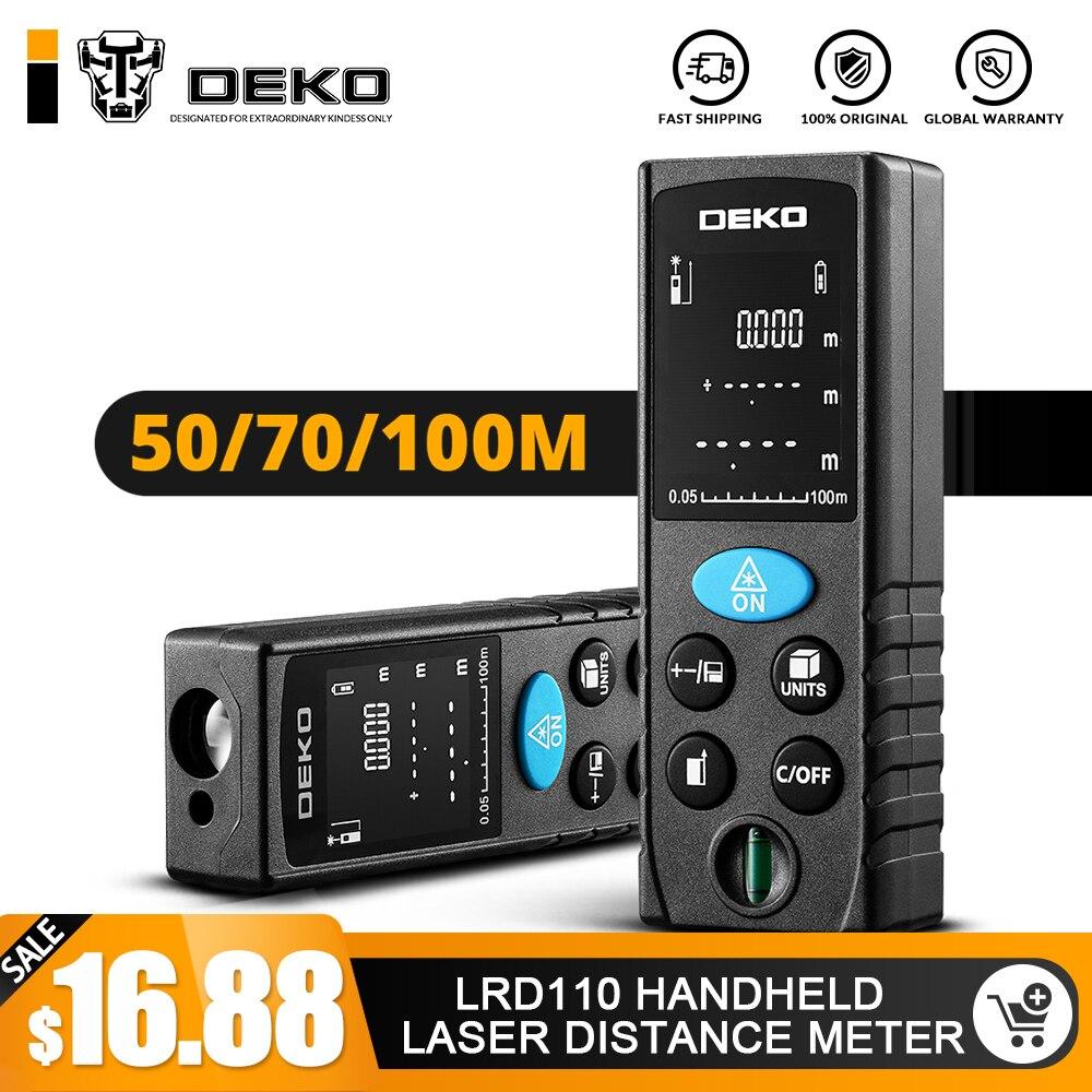 DEKO LRD110 Handheld Laser-distanzmessgerät 40 M 60 M 80 M 100 M Mini Laser-entfernungsmesser Laser Band Palette finder Diastimeter Messen