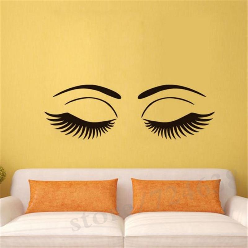 Beauty Close Eyes Vinyl Wall Decals Home Decor Long Eyelash Art ...