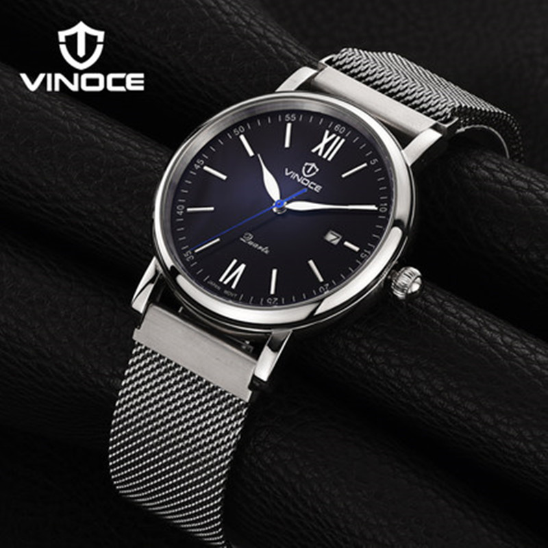 VINOCE casual fashion men font b mechanical b font watches sports waterproof stainless steel mesh bracelet