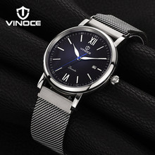 VINOCE casual fashion men mechanical watches sports  waterproof stainless steel mesh bracelet luxury brand calendar display