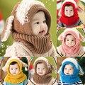 Invierno Cálido Niños Del Muchacho Del Bebé Unisex Multicolor Kintted Gorro de Lana Bufanda