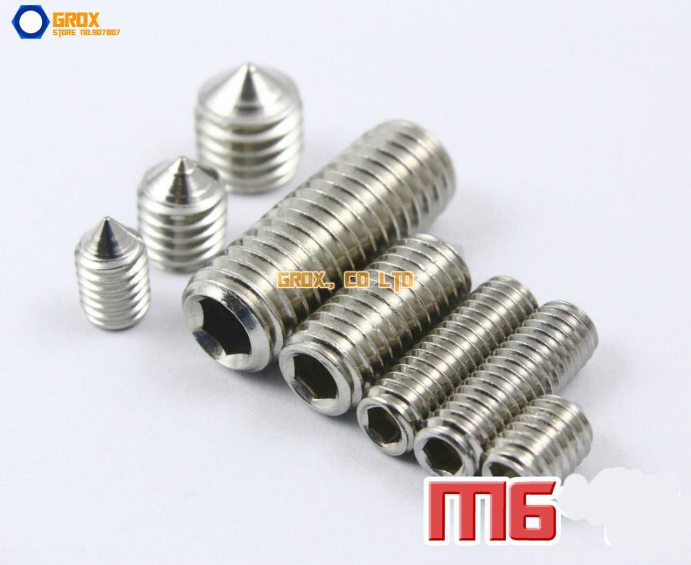 все цены на  M6 304 Stainless Steel Cone Point Grub Screws Hex Socket Set Screw  онлайн