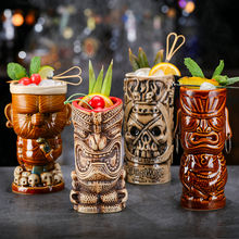 цена на OUSSIRRO Creative Shaman Totem Face TIKI Bar Glass Wine Cocktail Glasses Whiskey Cup Beer Cup Juice Cup Thicken