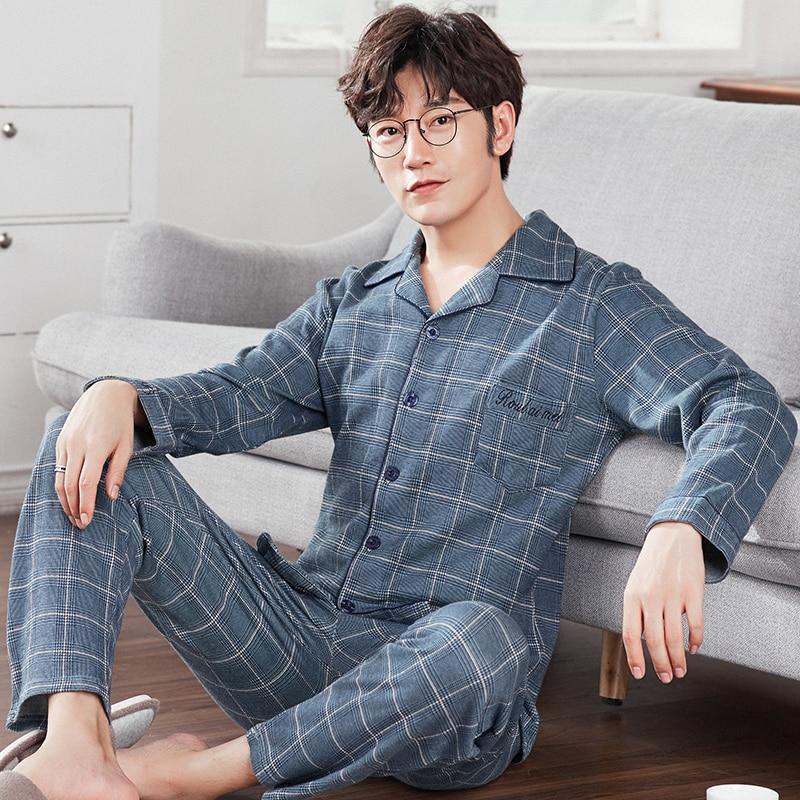 J&Q new arrival   pajama     set   men lapel quality sleep top&bottoms leisure home wear plaid pyjamas plus size male nightie sleepwear