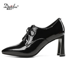 Daitifen Rome Lace-Up Pumps  Genuine leather Sexy Pointed toe U-style high heel shoes Solid soft lady Office shoes Big size