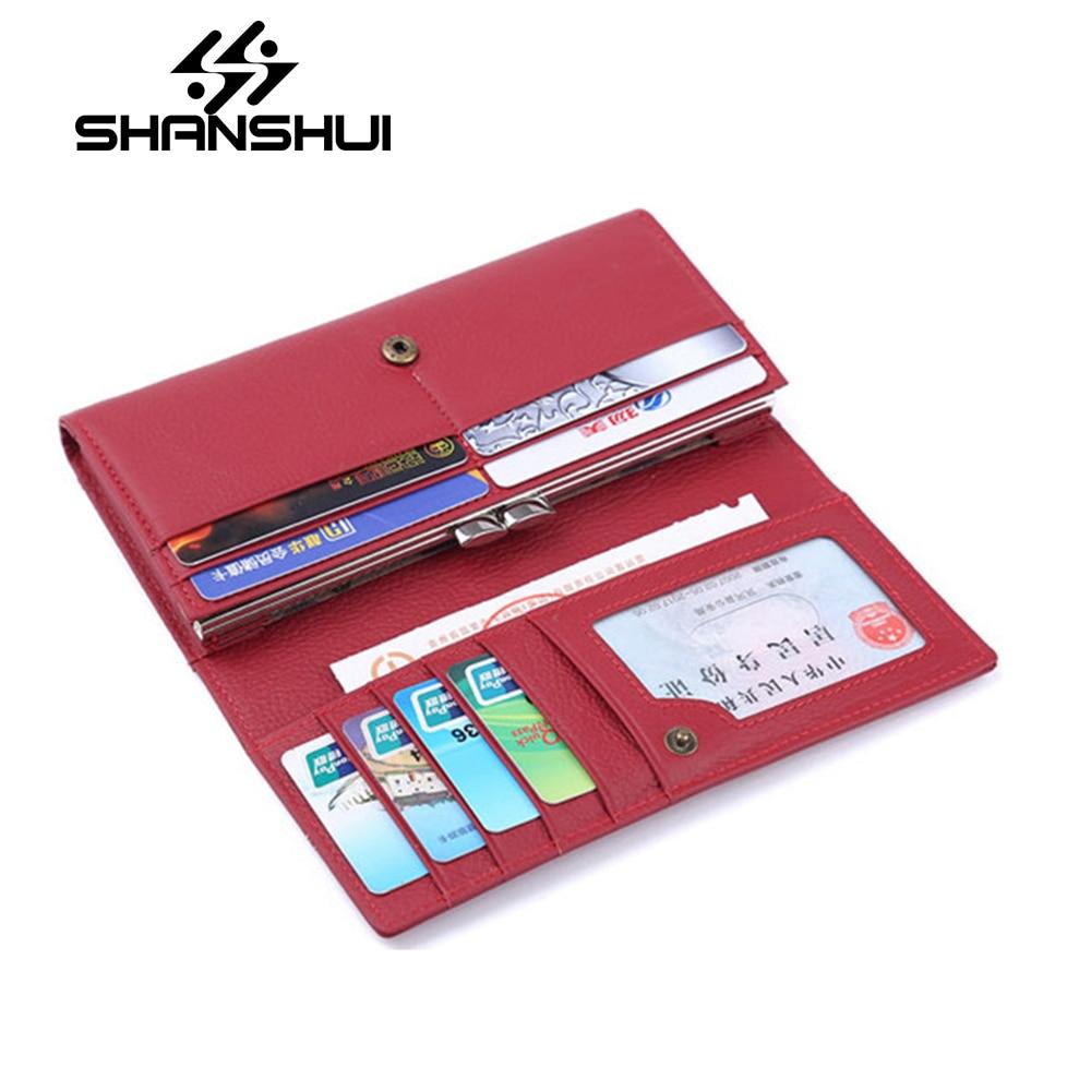 Shanshui бренд Для женщин кожаный бумажник первый Слои кожи Длинный кошелек классический китайский мешок руки красный кошелек monederos Para Mujer