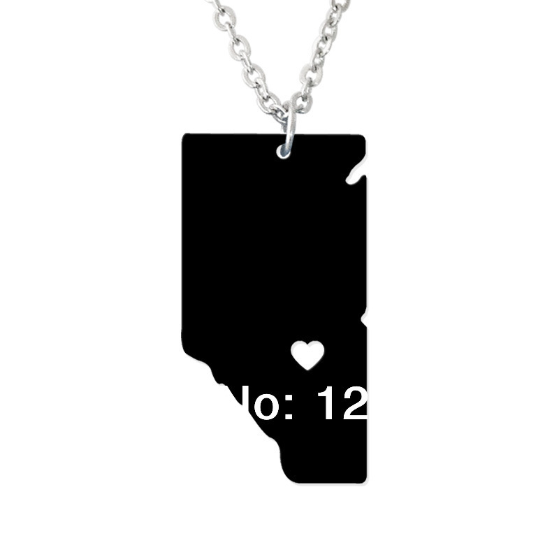 Alberta Mississippi State Necklace Map Pendant - Custom country jewelry-Personalized map charm