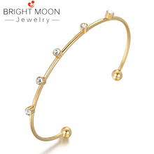 BRIGHT MOON Hot Barato Bangle Cuff Bracelet Solid Stainless Steel Gold Plating Color