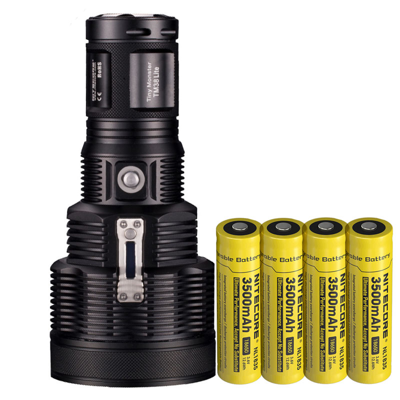 NITECORE TM38 Lite LED Flashlight CREE XHP35 HI D4 1400LM Beam Distance 1800LM Torch + 4pcs 18650 3500mAh battery nitecore mt10a 920lm cree xm l2 u2 led flashlight torch