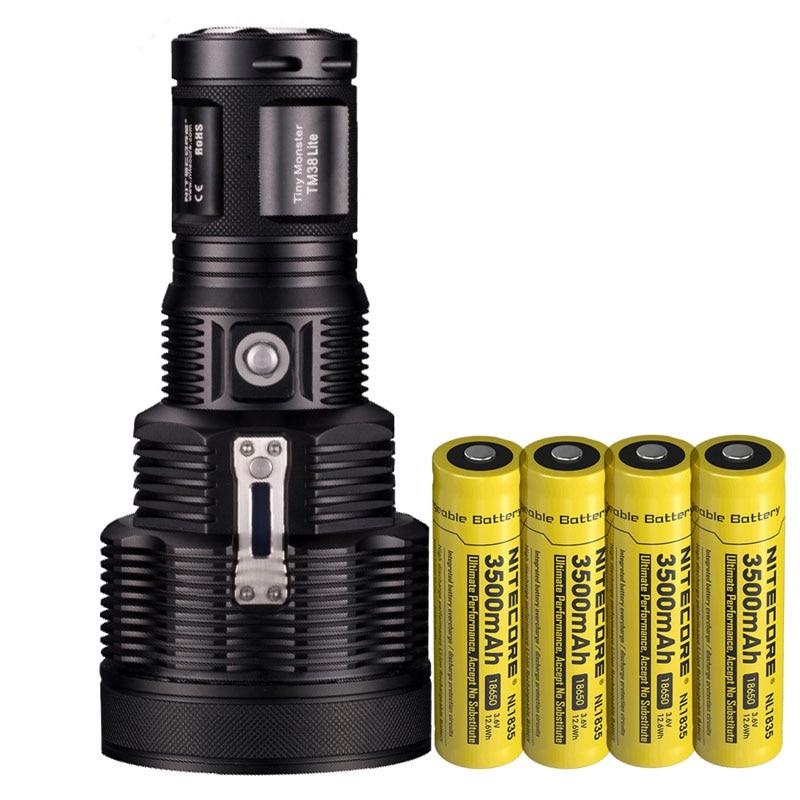 NITECORE TM38 Lite LED Flashlight CREE XHP35 HI D4 1400LM Beam Distance 1800LM Torch + 4pcs 18650 3500mAh battery