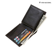 RFID Blocking Retro Oil Wax Genuine Leather Men Wallet RFID Safe Sleeve Mini Card Holder with Phone Holder and ID Window Ba058