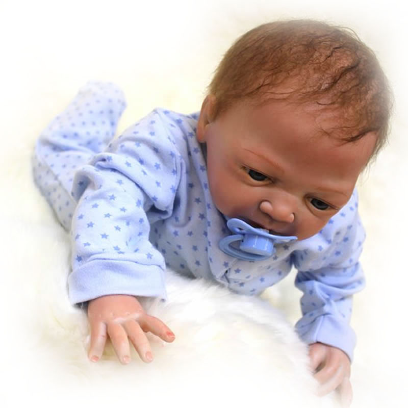 Realistic Reborn Baby Dolls Silicone Touch Soft Can Suck Pacifier 18'' Baby Dolls Truly Ethnic Babies With Clothes Kits Gifts suck uk