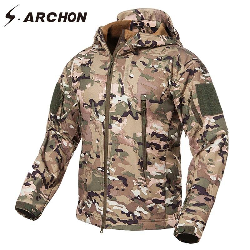 S. ARCHON Nouveau Soft Shell Camouflage Militaire Vestes Hommes À Capuchon Étanche Tactique Polaire Veste D'hiver Chaud Armée Survêtement Manteau - 5