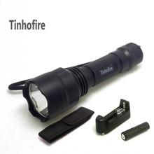 Tinhofire 2000 Lumen C8 CREE XML T6 5-Mode lamp LED Flashlight Torch + 4000mah 3.7V 18650 Battery+Charger+pouch
