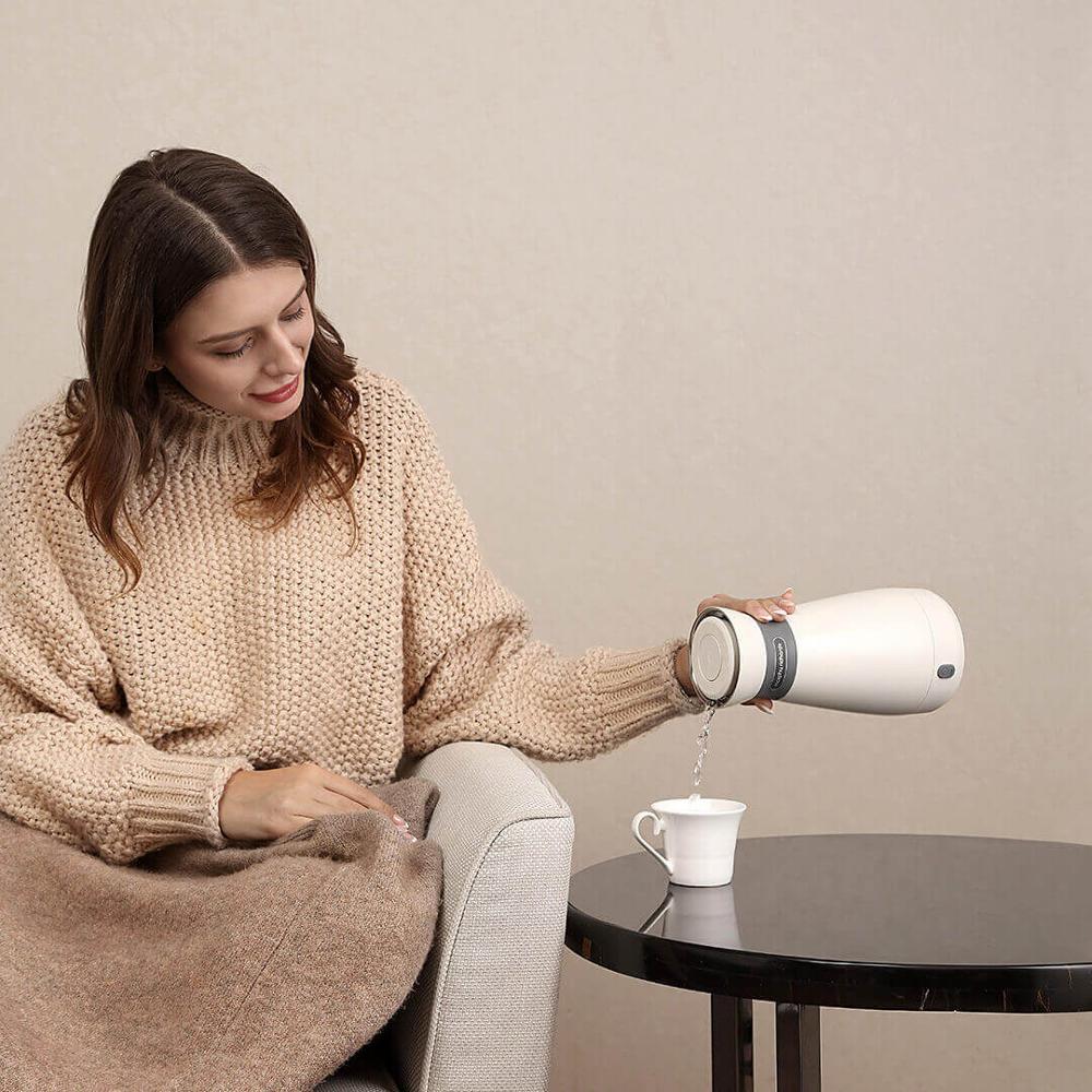 Xiaomi Portable bouilloire électrique 500 mL en acier inoxydable bouteille d'eau chaude Anti-échaudage bouilloire longue durée thermique fiole pour voyage - 5
